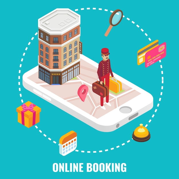 Vettore online di concetto di prenotazione di hotel. illustrazione isometrica piatta edificio dell'hotel e portiere con bagagli sullo schermo dello smartphone. Vettore Premium