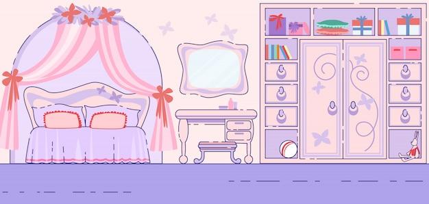Vettore piano interno di favola della camera da letto della bambina Vettore Premium