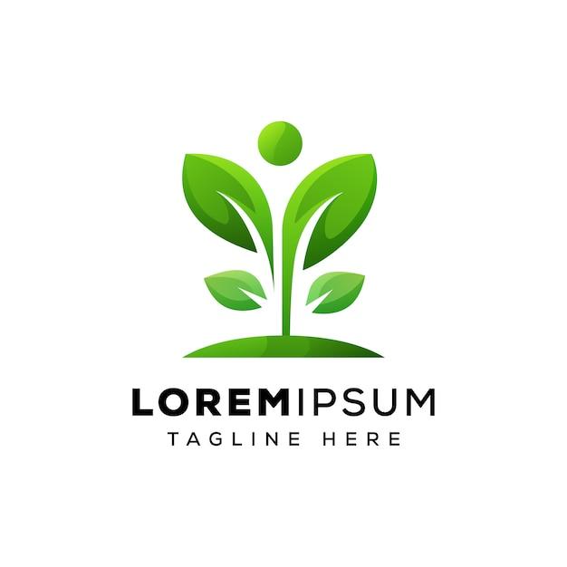 Vettore premio del concetto umano di logo della foglia Vettore Premium