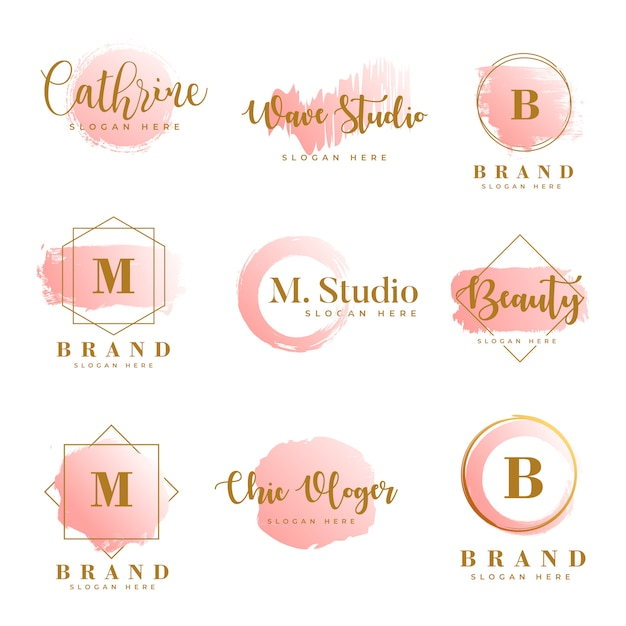 Vettore premium del modello femminile delle collezioni di logo Vettore Premium