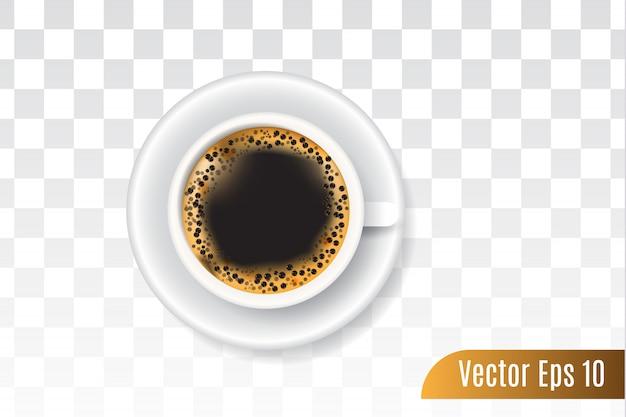 Vettore realistico 3d di caffè nero isolato trasparente Vettore Premium