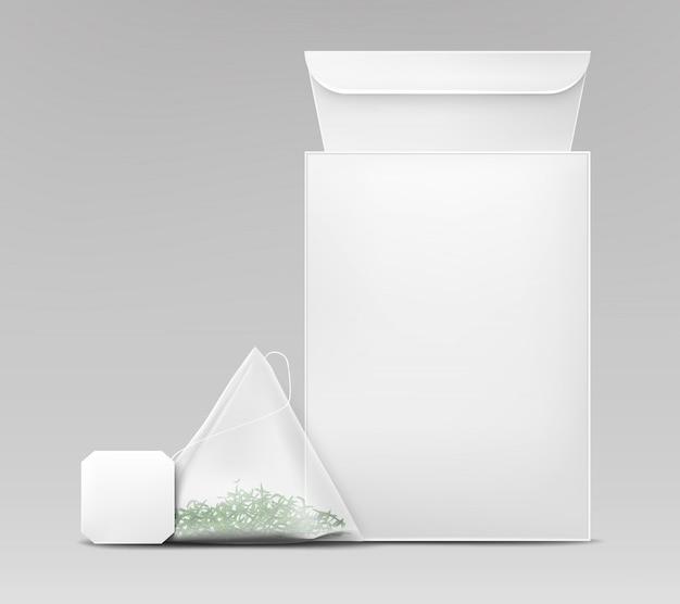 Vettore realistico del modello d'imballaggio del tè verde Vettore gratuito