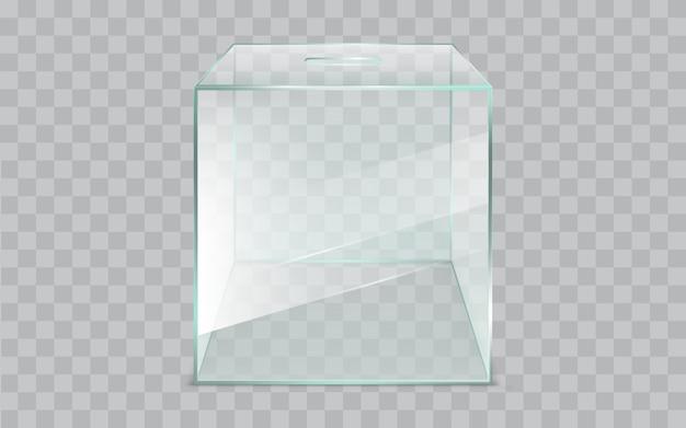 Vettore realistico vuoto, quadrato, di urne di vetro Vettore gratuito