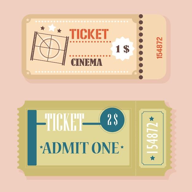 Vettore retro concetto di biglietti del cinema d'epoca. Vettore Premium