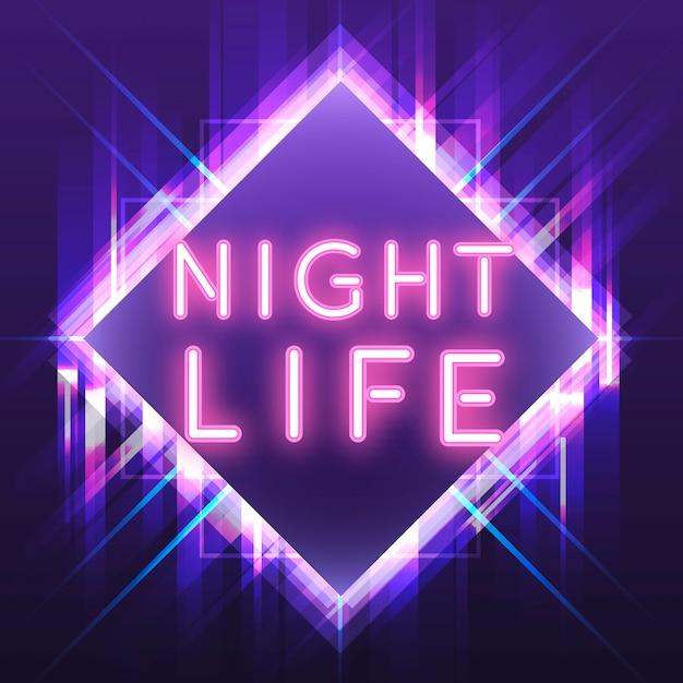 Vettore rosa del segno al neon di vita notturna Vettore gratuito
