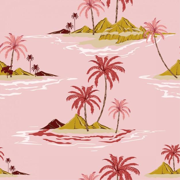 Vettore senza cuciture d'annata del modello di umore dolce di stile dell'illustrazione tropicale della mano dell'isola Vettore Premium