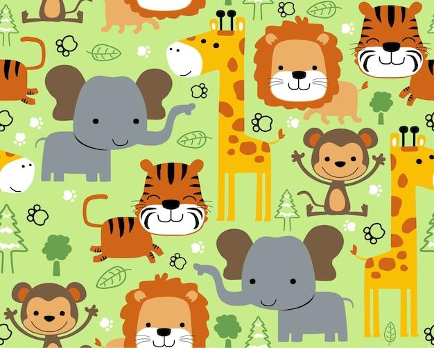 Vettore senza cuciture del modello con il fumetto della fauna selvatica degli animali Vettore Premium