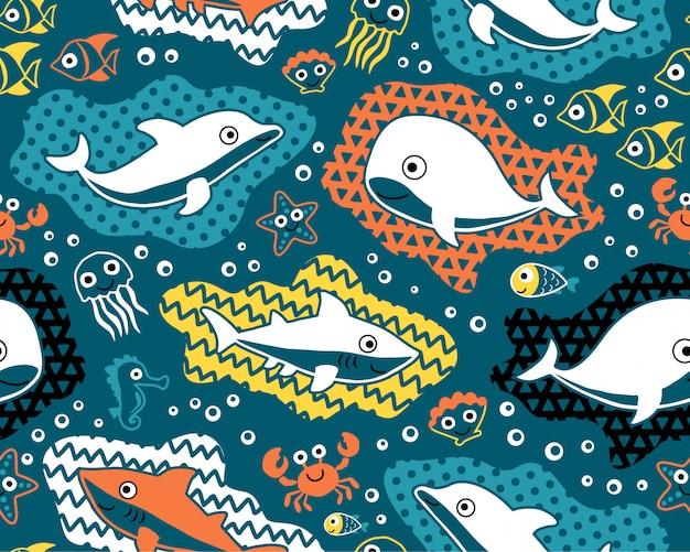 Vettore senza cuciture del modello del fumetto degli animali marini Vettore Premium