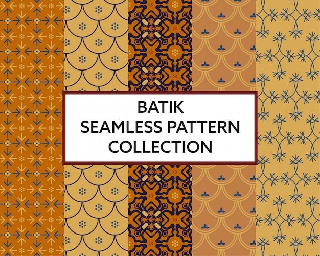 Vettore senza cuciture della raccolta del modello del tessuto del batik Vettore Premium