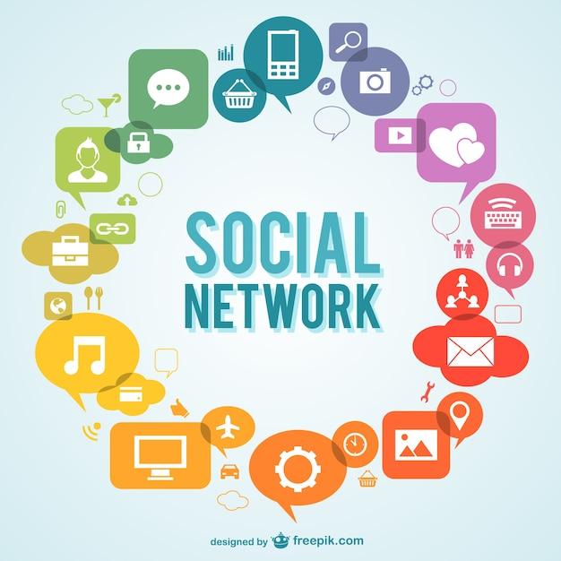 Vettore social network con icone Vettore gratuito