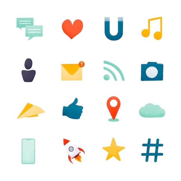 Vettore stabilito dell'icona di media sociali Vettore gratuito