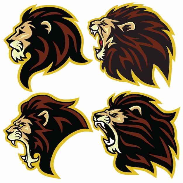 Vettore stabilito dell'insieme della raccolta della mascotte di logo del leone Vettore Premium