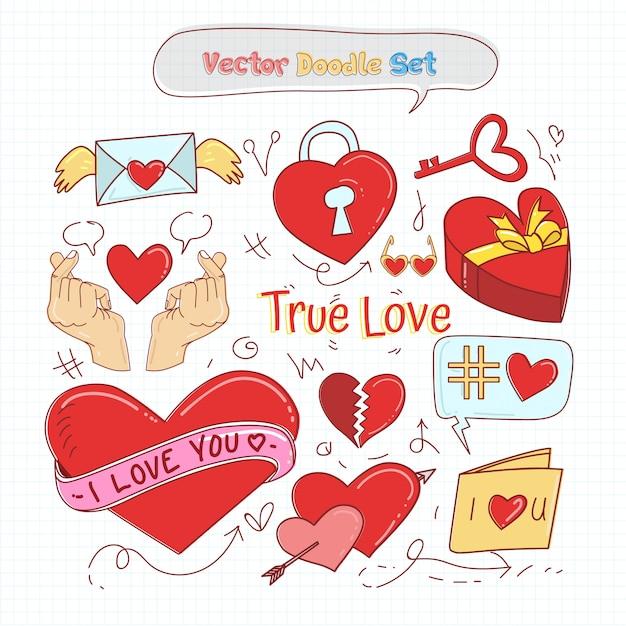 Vettore stabilito di doodle di giorno di biglietti di s. valentino Vettore Premium