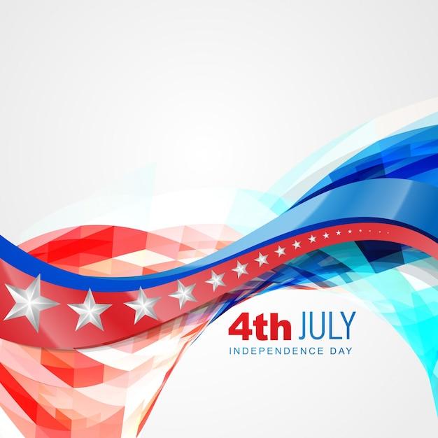 Vettore stile ondata sfondo americano giorno di indipendenza Vettore gratuito