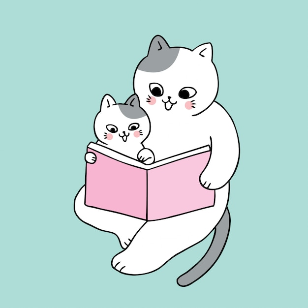 Vettore sveglio del libro di lettura del gatto del papà e del bambino sveglio del fumetto. Vettore Premium