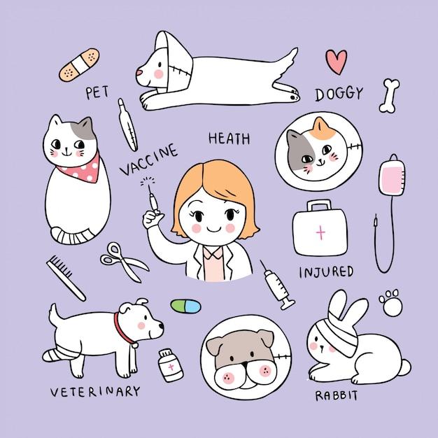 Vettore sveglio del veterinario del gatto e del cane e della donna del fumetto. Vettore Premium