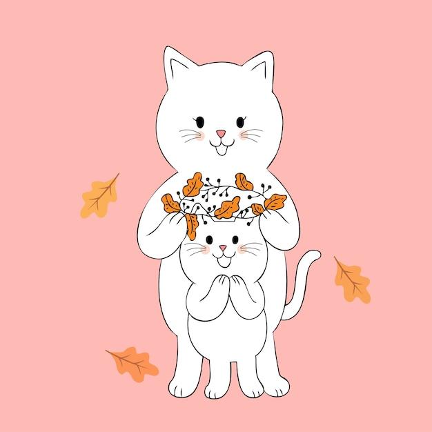 Vettore sveglio della corona dei fiori e dei gatti di autunno del fumetto. Vettore Premium