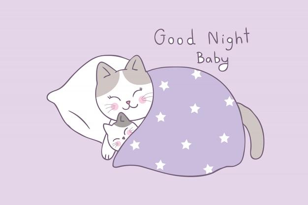 Vettore sveglio di sonno del gatto del bambino e della mamma del fumetto. Vettore Premium