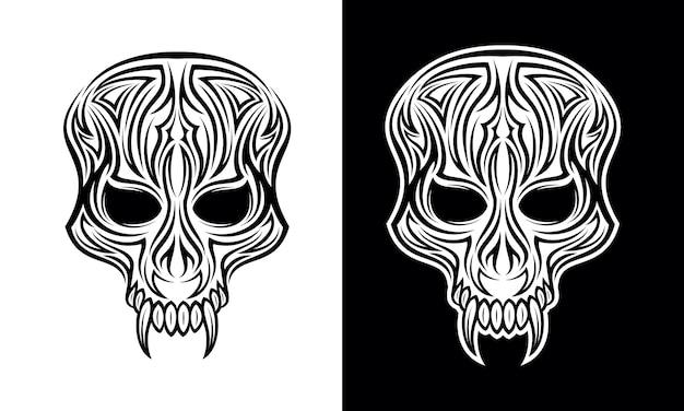Vettore tribale di progettazione del tatuaggio del fronte del demone Vettore Premium