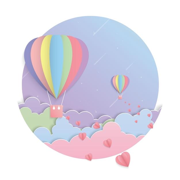 Vettore variopinto di arte di carta della luna e del pallone Vettore Premium