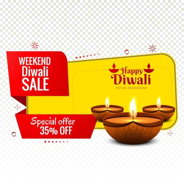 Vettore variopinto di progettazione dell'insegna di vendita di diwali di fine settimana Vettore gratuito