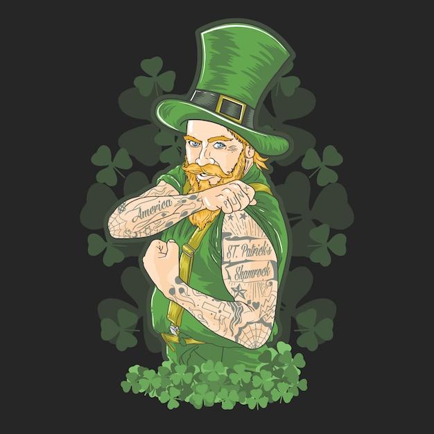 Vettore verde del tatuaggio di shamrock di giorno della st patrick Vettore Premium