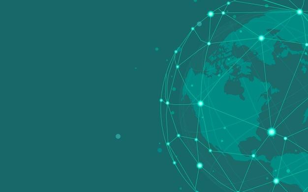 Vettore verde dell'illustrazione del fondo del collegamento in tutto il mondo Vettore gratuito
