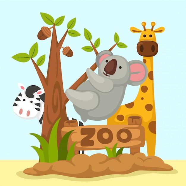 Vettore zoo degli animali Vettore Premium