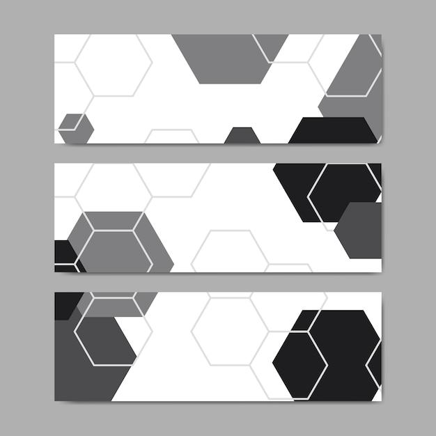 Vettori di banner modello esagono geometrico in bianco e nero impostato Vettore gratuito
