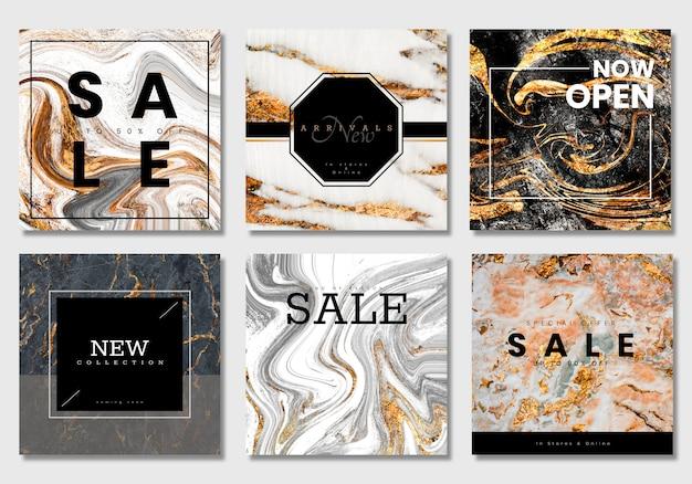 Vettori di raccolta banner di vendita di lusso Vettore Premium