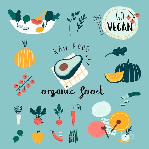 Vettori di set di alimenti biologici vegani Vettore gratuito