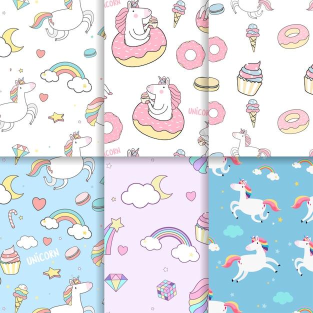 Vettori di sfondo seamless pattern colorato unicorno Vettore gratuito