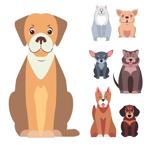 Vettori piani del fumetto sveglio dei cani di razza messi Vettore Premium