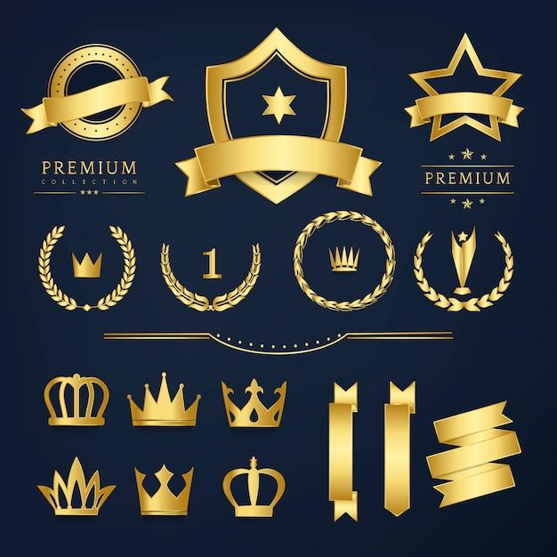 Vettori premium di badge di qualità e raccolta banner Vettore gratuito