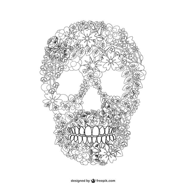 Vettoriale cranio floal illustrazione Vettore gratuito