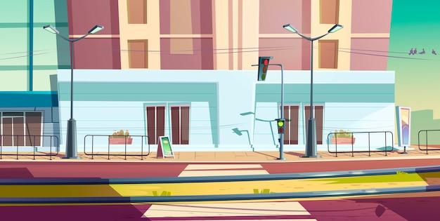 Via della città con auto strada e binari del tram Vettore gratuito
