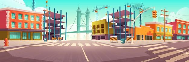 Via della città con cantiere, lavori di costruzione Vettore gratuito