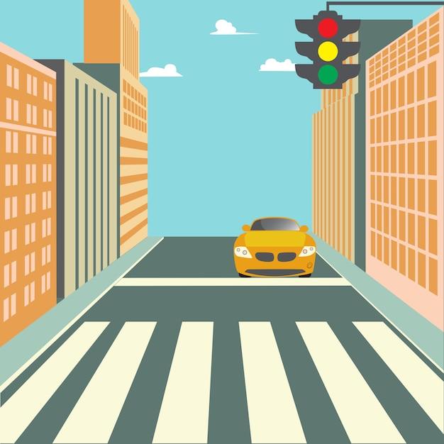 Via della città con edifici, semaforo, attraversamento pedonale e auto Vettore Premium