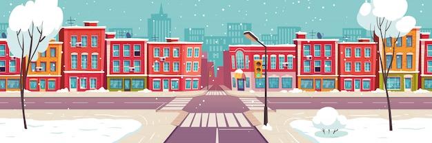 Via della città di inverno, paesaggio urbano innevato Vettore gratuito