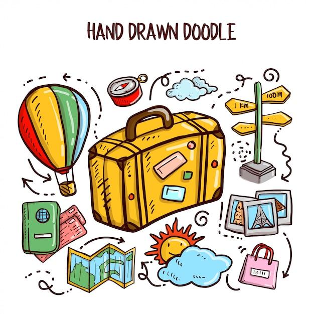 Viaggi doodles art. illustrazione vettoriale set Vettore Premium