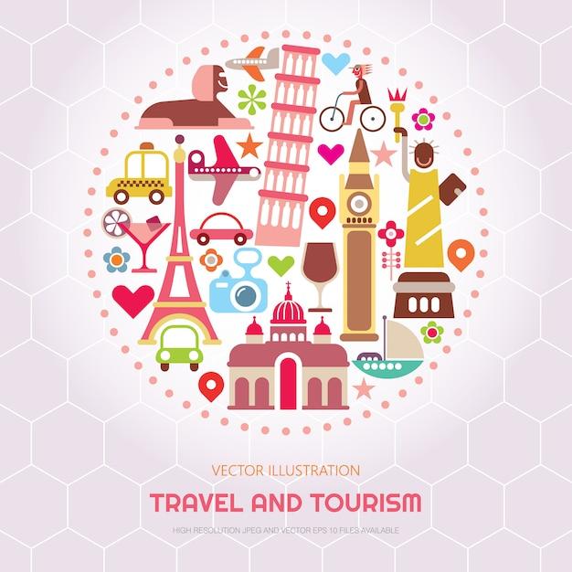 Viaggi e turismo illustrazione vettoriale Vettore Premium