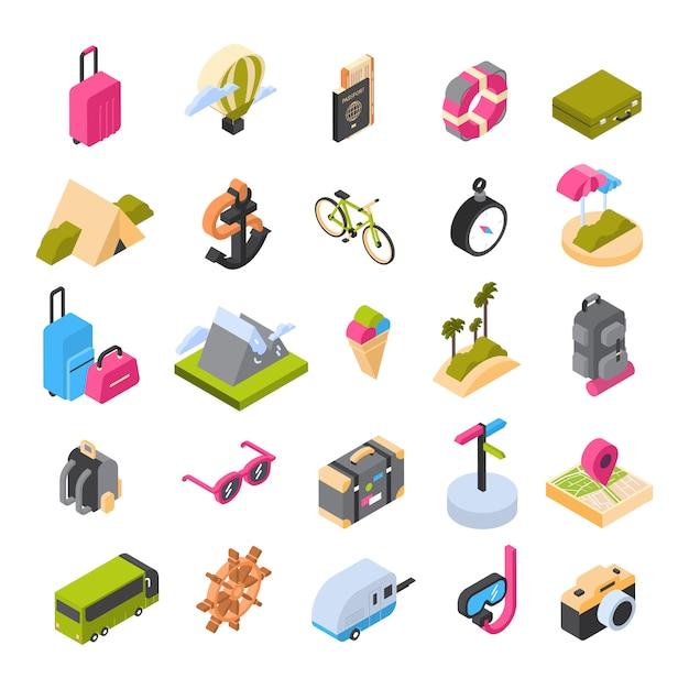 Viaggi e turismo set di icone isometriche colorati loghi estivi Vettore Premium
