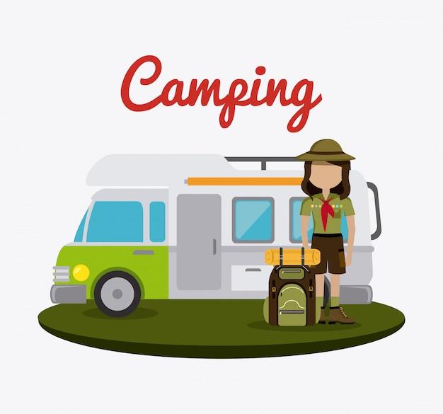 Viaggi e vacanze in campeggio. Vettore gratuito