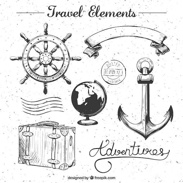 Viaggi elements collection Vettore gratuito