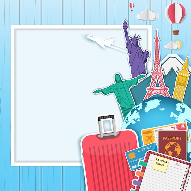 Viaggi in aereo e valigie Vettore Premium