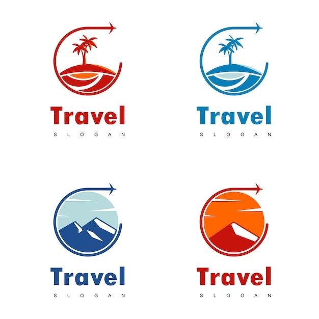 Viaggi logo design vettoriale Vettore Premium