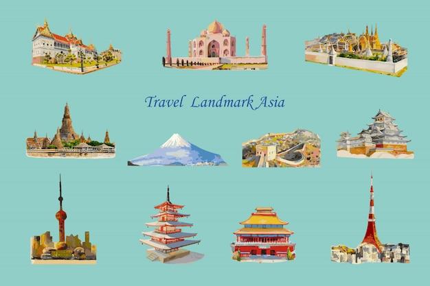 Viaggi popolare architettura di riferimento asia. Vettore Premium