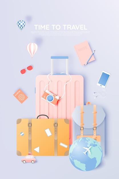 Viaggia con vari oggetti in stile carta Vettore Premium