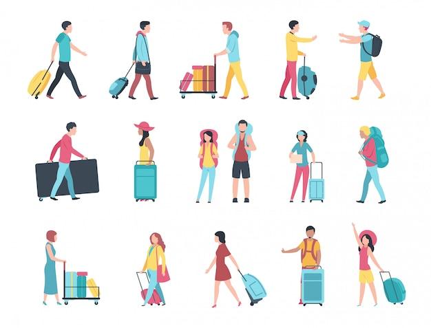Viaggia gente. i passeggeri della folla del bagaglio turistico dell'aeroporto controllano la coda del terminale di controllo del passaporto. le persone con bagagli Vettore Premium