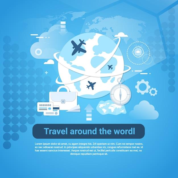 Viaggia intorno all'insegna di web del mondo con lo spazio della copia su fondo blu Vettore Premium